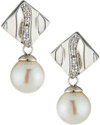 Majorica - Plume Cubic Zirconia Pearl Drop Earrings - Lyst