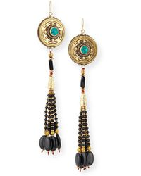 Devon Leigh - Antiqued Turquoise & Onyx Beaded Earrings - Lyst