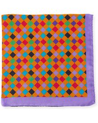 Bugatchi - Multicolor Checkered Silk Pocket Square - Lyst
