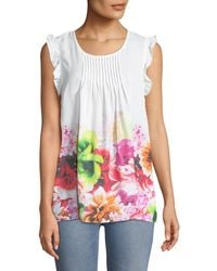 Cece by Cynthia Steffe - Pleated-front Floral Blouse - Lyst