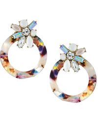 Fragments - Front-facing Hoop Earrings W/ Crystals - Lyst