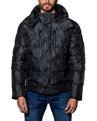 Jared Lang - Semi-fitted Snap-hood Puffer Jacket Black Camo - Lyst
