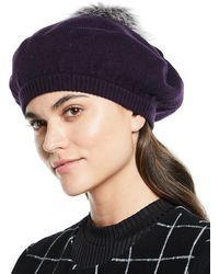 Neiman Marcus - Cashmere Jersey Beret With Fox Fur Pompom - Lyst