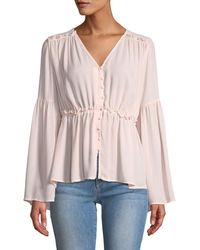 Catherine Malandrino - Bell-sleeve Button-down Blouse - Lyst