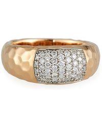Roberto Coin - Martellato Diamond Ring In 18k Rose/white Gold - Lyst