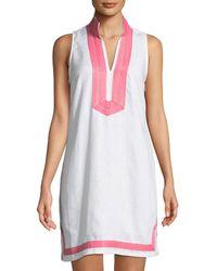 61e65f783435 Sail To Sable - Sleeveless High-neck Two-tone Linen Tunic Dress White/