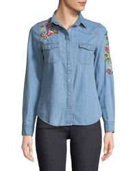 Haute Rogue - Embroidered-denim Button-front Blouse - Lyst