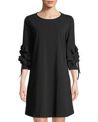 2e698390b4 Neiman Marcus - Ruffle-tiered 3 4-sleeve Shift Dress - Lyst
