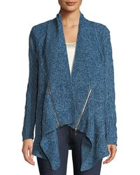 Love Scarlett - Cable-knit Open-front Cardigan With Zipper Detail - Lyst