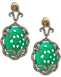 Bavna - Diamond Pavé Chalcedony Drop Earrings - Lyst
