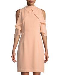 Catherine Malandrino - Cold-shoulder Ruffled Sleeve Sheath Dress - Lyst