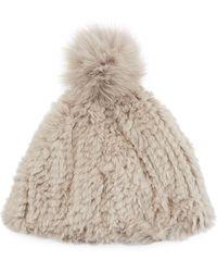 7288db9c0fbc8 Adrienne Landau - Knitted Rabbit Fur Pompom Beanie - Lyst