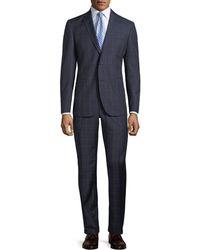 Neiman Marcus - Two-piece Windowpane Wool Suit Navy - Lyst