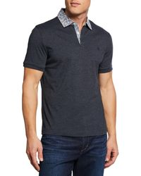 Original Penguin - Men's Floral-collar Heathered Polo - Lyst
