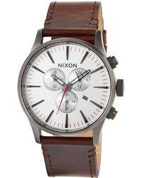 Nixon - 42mm Sentry Chrono Leather Watch - Lyst