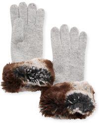 Neiman Marcus - Cashmere Faux-fur Gloves - Lyst