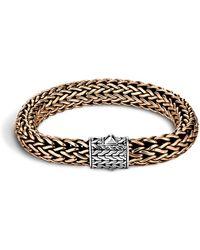 John Hardy - Men's Two-tone Woven Chain Bracelet Silver/bronze Size M - Lyst