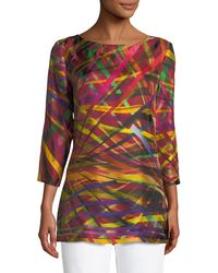 ESCADA - 3/4-sleeve Geometric Charmeuse Tunic - Lyst
