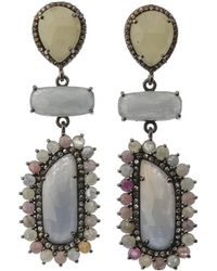 Bavna - Silver 3-drop Earrings With Multicolor Sapphire & Diamonds - Lyst