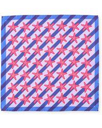 Bugatchi - Striped Starfish Silk Pocket Square - Lyst