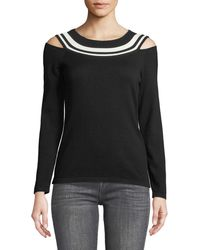 Laundry by Shelli Segal | Stripe-top Cold-shoulder Sweater | Lyst
