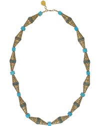Devon Leigh - Domed Brass & Turquoise Necklace - Lyst