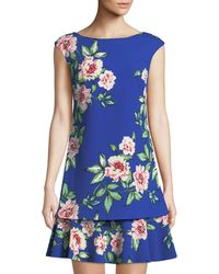 Eliza J - Floral Cap-sleeve Shift Dress - Lyst