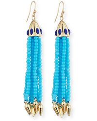 Lulu Frost Beaded Blue Tassel Drop Earrings
