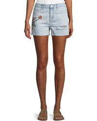 Dex - Embroidered Denim Shorts - Lyst