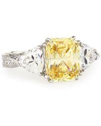 Fantasia by Deserio - Emerald-cut Canary & Clear Trillion-cut Cz Crystal Ring - Lyst