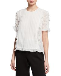 Max Studio - Pleated Ruched-sleeve Lace Georgette Top - Lyst