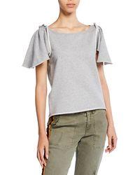 Pam & Gela - Ruffle Sleeve Shrunken Sweatshirt - Lyst