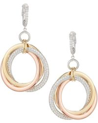 Neiman Marcus - Tri-color 14k Gold Hoop Earrings With Diamonds - Lyst