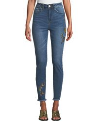 Dex - High-rise Embroidered Fray-hem Skinny Jeans - Lyst