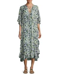 See By Chloé - Floral Caftan Short-sleeve Dress - Lyst