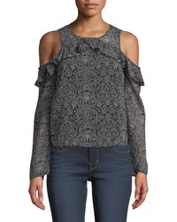 Dex - Cold-shoulder Ruffle-yoke Printed Blouse - Lyst