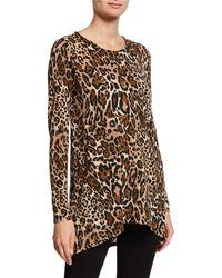 Joan Vass - Leopard High-low Button-back Top - Lyst