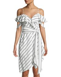 Kendall + Kylie - Pinstriped Ruffle Wrap Dress - Lyst