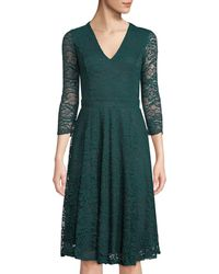 Neiman Marcus - Lace Open-back V-neck Fit-&-flare Dress Emerald - Lyst