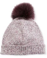 Neiman Marcus - Marled Cashmere Pompom Beanie Hat - Lyst