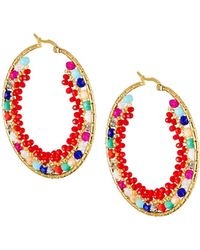 Panacea - Beaded Hoop Earrings Multicolor - Lyst