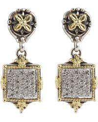 Konstantino - Asteri Pave White Diamond Square Double-drop Earrings - Lyst