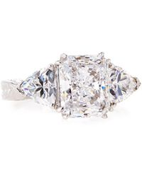 Emerald & Trillion-cut Clear Cz Crystal Ring Sizes 6-8