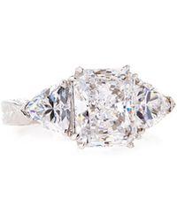 Fantasia by Deserio - Emerald & Trillion-cut Clear Cz Crystal Ring - Lyst