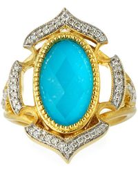 Jude Frances - Malta 18k Diamond & Turquoise Doublet Ring - Lyst