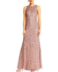 Adrianna Papell - Beaded Halter Gown - Lyst