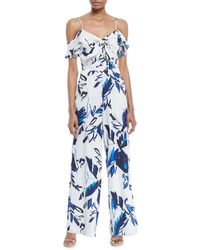 8deda21ebe04 Julia Jordan - Floral Off-the-shoulder Tie-front Jumpsuit - Lyst