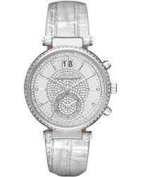 Michael Kors - Sawyer Pave Crystal Sport Watch W/ Leather Strap - Lyst