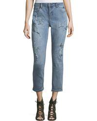 Velvet Heart - Mattie Embroidered Cropped Boyfriend Jeans - Lyst