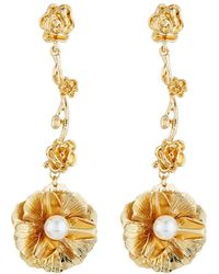 Fragments - Flower & Pearly Dangle Earrings - Lyst